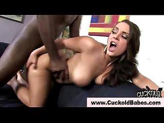Cuckold gets interracial cock in her ass