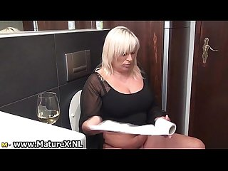 Fat old blonde mature lady loves taking