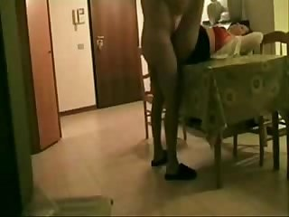 Fucking my pervert Aunt on table hidden cam