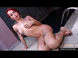 Redheaded Tgirl Nicolly Pantoja Masturbates Her Big Cock by the Pool