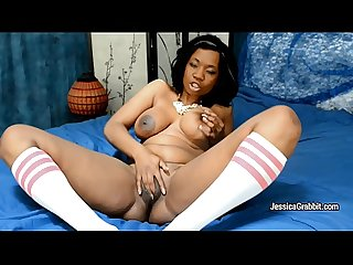 Sexy black MILF Jessica Grabbit takes toy deeply inside her pussy