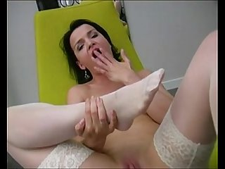 Footjob in white stockings www.beeg18.com