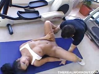 Christina aguchi peels off the spandex and fucks her personal trainer