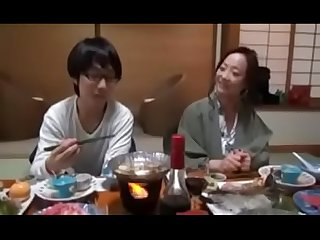 Japanese milf shows nerdy son how to fuck