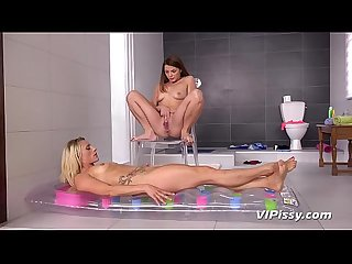 Dirty Sluts Cover Each Other In Piss