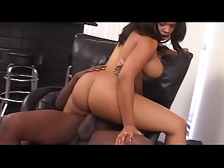 Black cutie Kandi Kream with a bubble butt gets nailed on a chair after BJ