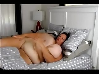 Matured Milf with massive boobs masturbate in bed