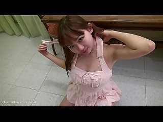 Cute busty amateur Jav teen fucked on table