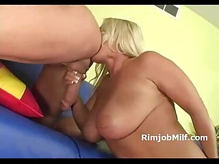 Ass licking busty blonde gives titi job and gets licked