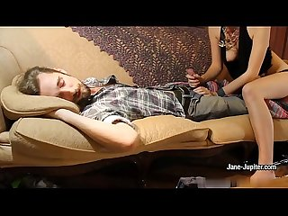 Nasty GF Jane Jupiter blows a guy while he's sleeping