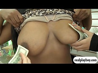 Hot ladies flash their big boobs in exchange for cash