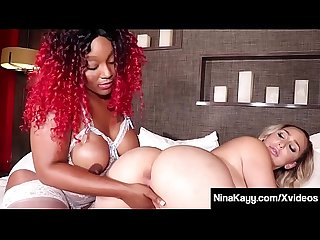 Fuck Sisters Nina Kayy & Ebony Thick Red Share Big Dildo!