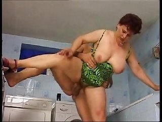Homemade mature fucks with man in laundry