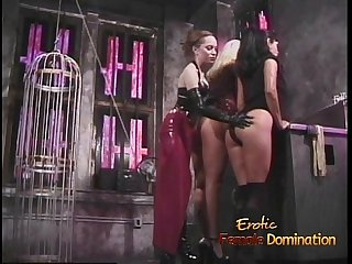 Three smoking hot playgirls have some kinky fun in the dungeon