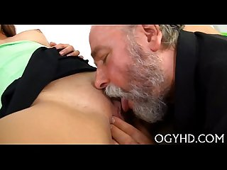 Lewd old dude teases youthful babe