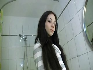 Young amateur brunette hot fuck in bathroom