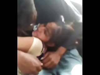 Desi girl kissed and tits groped in car