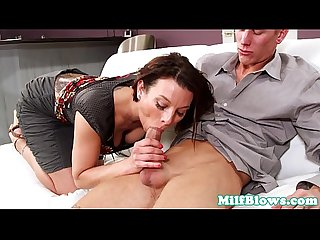 Classy tattooed mature sucks on hard dick