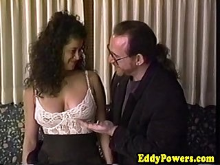 Retro sextape of busty babe handling two nobs