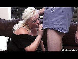 Wife leaves and he cheats with blonde bbw