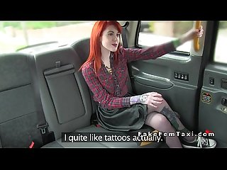 Inked redhead licking female fake cab driver