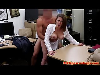 Bigtitted mature fucked on desk and facialed