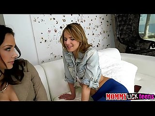 Hot stepmom Chanel and blonde teen Jillian goes scissor sex on the couch