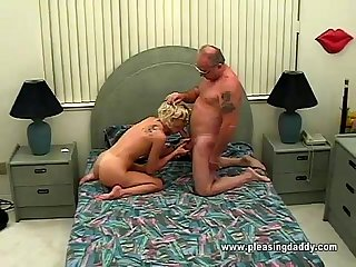 Young horny slut sucking old mans cock
