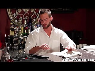 Muscled suit drills tattooed waiters asshole