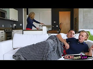 Busty stepmom and teen bitch threesome sex on the couch
