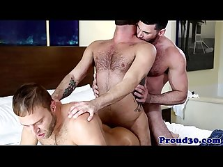 Mature threeway with muscle men assfucking