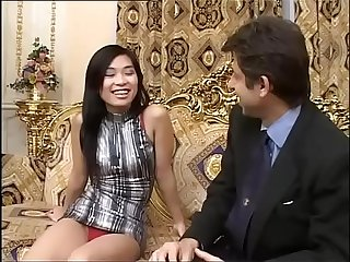A young sensual asian girl is about to meet a huge black cock