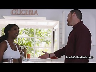 Dark skinned big tit tennis chick on cock