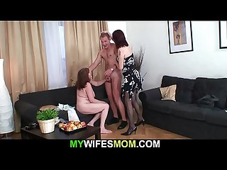 Busty mother in law rides his hard young cock