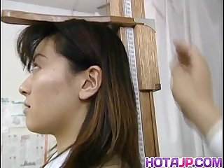 Saki shiina has hairy cunt measured and sucks doctor phallus