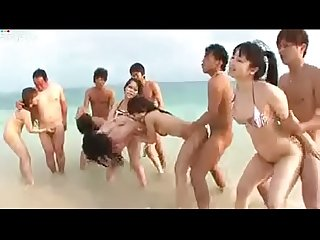 Asian Teens Enjoying With her Boyfriends on Beach - AmJerking.com