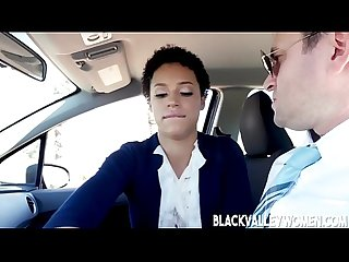 Chocolate Skin Cutie Amethyst Banks Rides Her Driving Instructor