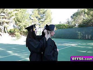 Naughty graduating teens in a hot lesbian fuck