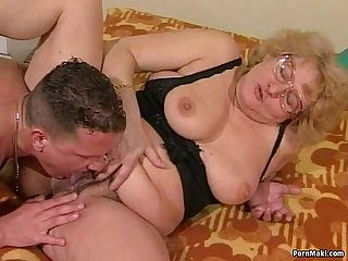 Hairy granny gets dildoed before fucks with young guy