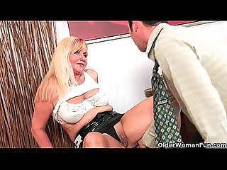 Slutty grandma venus sucks cock and gets a mouth full of cum