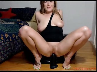 Hot wife rides big black dildo and squirts in kitchen on yescams com