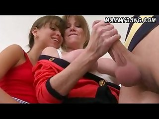 Horny stepmom and stepdaughter 3way sex with a young stud
