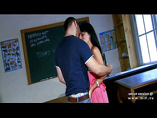 Dark haired french teacher banged with cum 2 mouth at school