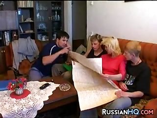 Russian whore in a foursome