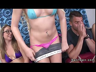 Blonde teen gives handjob to stepbrother in front of friends