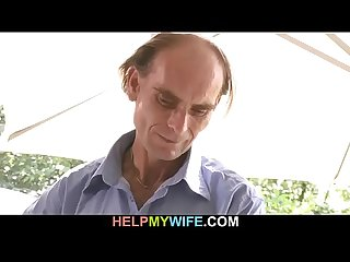 Old Fart watches his young wifes gets fucked