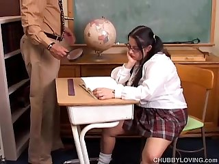 Chubby busty student loves to suck teachers cock