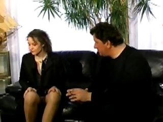Hairy brunette analfucked in stockings