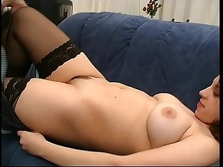 Young chubby girl with nice tits rides a big cock