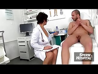 Gabina A Mature uniform woman cfnm exam and handjob
